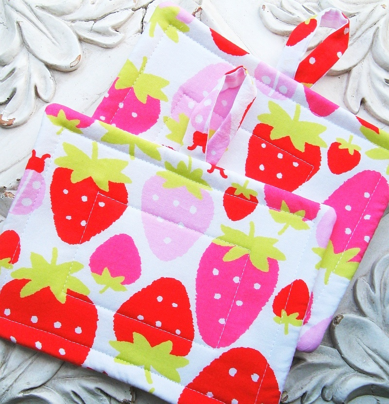 Plump Strawberries Potholders
