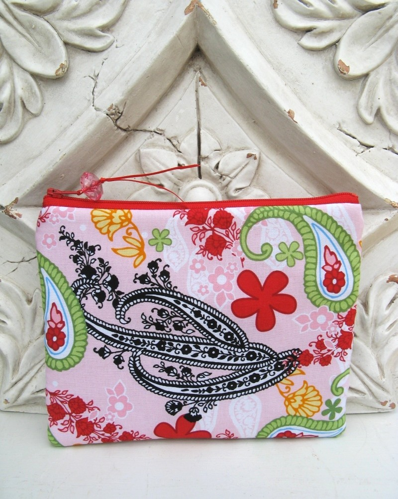 Padded paisley pouch