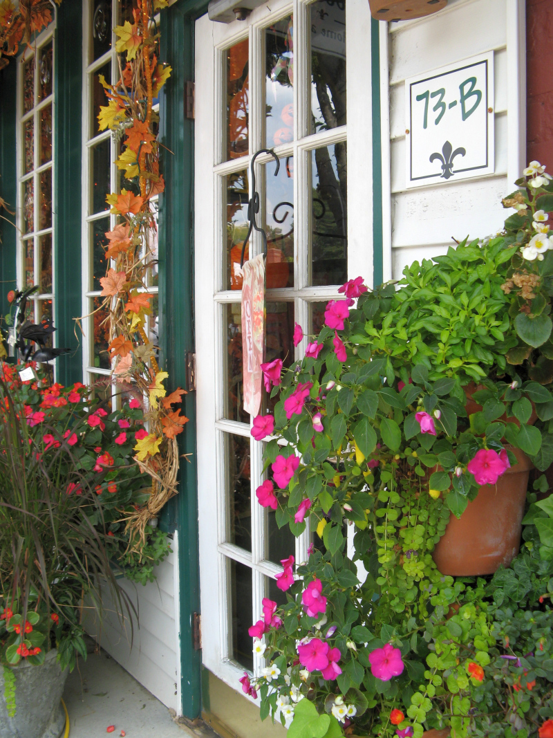Flowers on store front