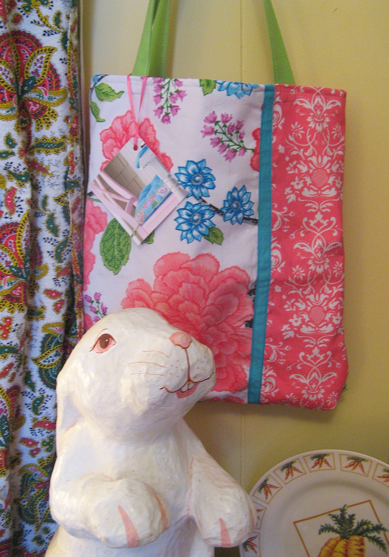 Fluffy Flowers Antique Booth Tote bag and bunny