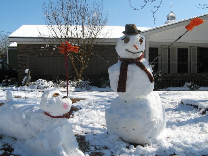 Snowperson walking snowdog