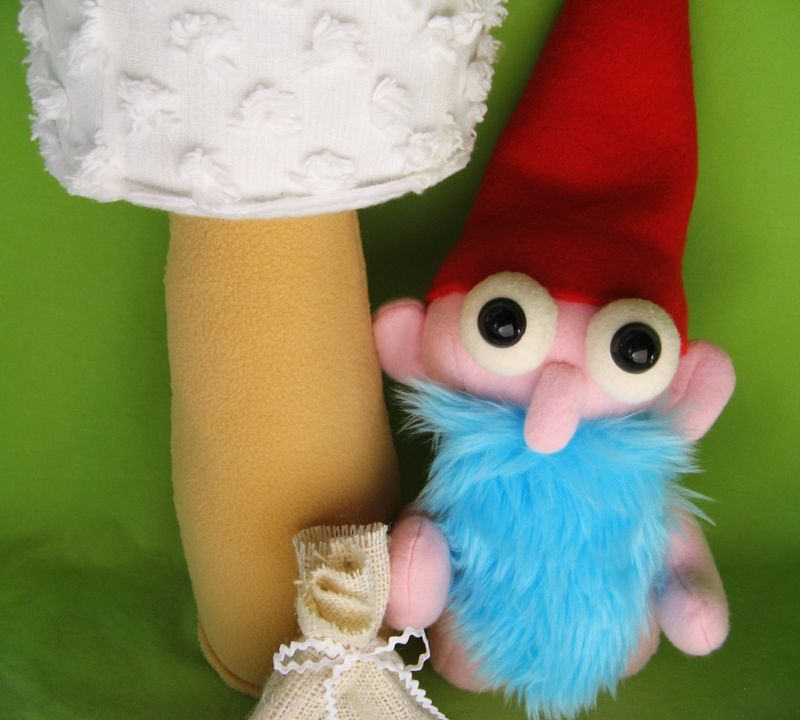 Cute Gnudie Gnome with mushroom and sack