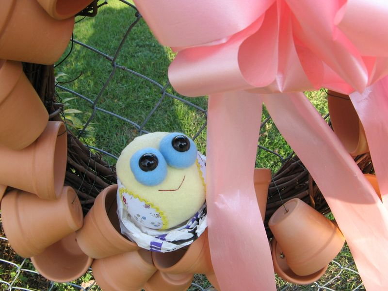 Tweety Bird on a flower pot wreath
