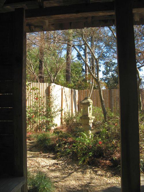 Massee Lane Camellia Gardens Japanese Garden sculputure view from hut