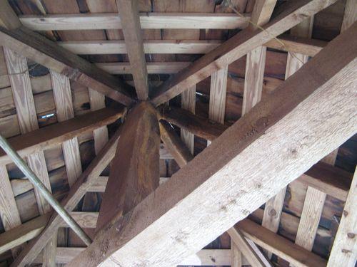 Massee Lane Camellia Gardens Japanese Garden entrance inside hut roof