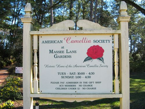 Massee Lane Camellia Gardens hours of operation sign