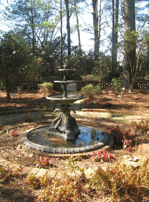Massee Lane Camellia Gardens small formal garden swan fountain
