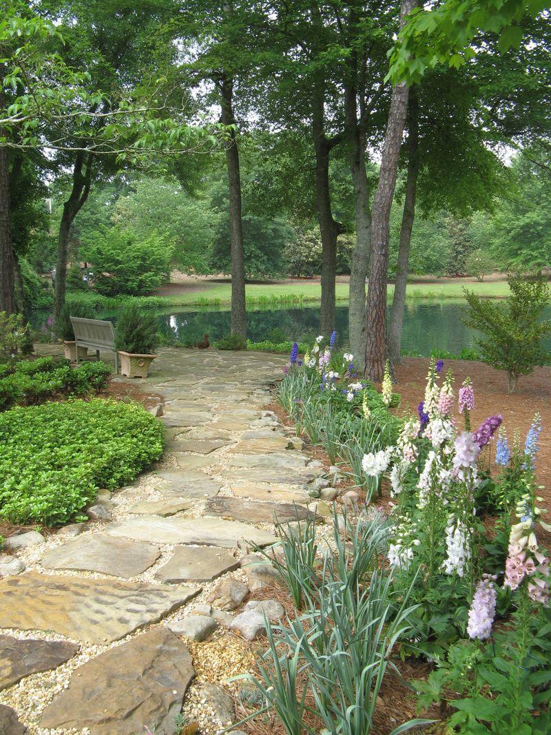 Athens Garden Tour 2012 pond walkway foxgloves