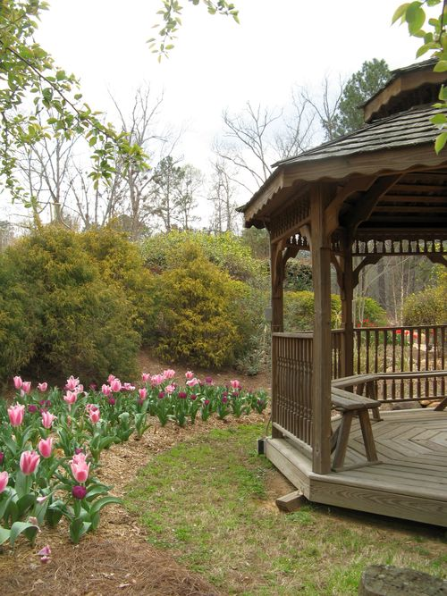 Indian Springs Georgia Whimsical Garden gazebo and tulips