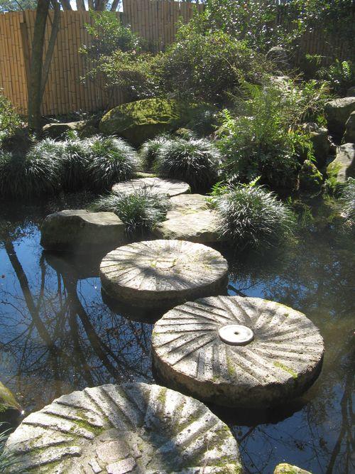 Massee Lane Camellia Gardens Japanese Garden millstones over pond