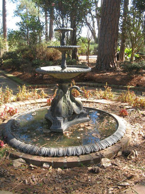 Massee Lane Camellia Gardens small formal garden swan fountain closeup