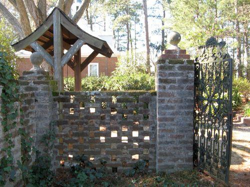 Massee Lane Camellia Gardens Wishing Well Iron Gates brick fence