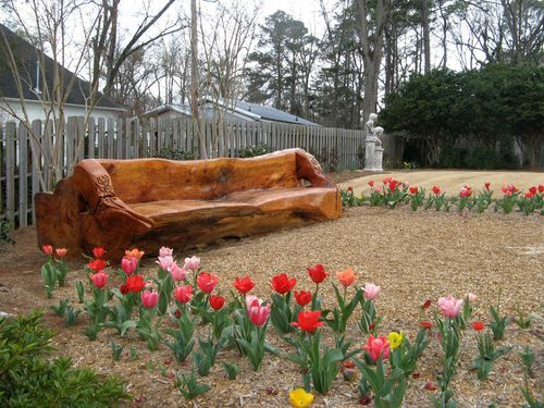 Indian Springs Georgia Rose Garden carved bench