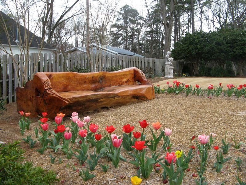 Indian Springs Georgia Rose Garden carved bench